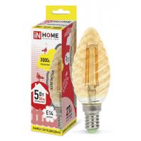 Cветодиодная лампа LED-СВЕЧА ВИТАЯ-deco 5Вт 230В Е14 3000К 450Лм золотистая IN HOME