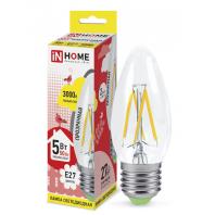 Cветодиодная лампа LED-СВЕЧА-deco 5Вт 230В Е27 3000К 450Лм прозрачная IN HOME
