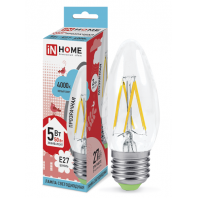 Cветодиодная лампа  LED-СВЕЧА-deco 5Вт 230В Е27 4000К 450Лм прозрачная IN HOME