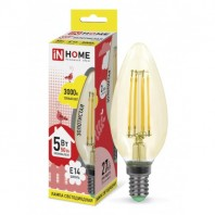 Cветодиодная лампа LED-СВЕЧА-deco 5Вт 230В Е14 3000К 450Лм золотистая IN HOME