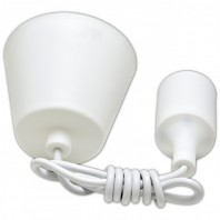 Патрон Е27 силиконовый со шнуром 1м белый IN HOME