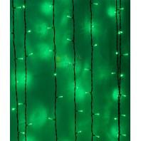 Светодиодный занавес 2х1 метров, 200 led цвет зеленый