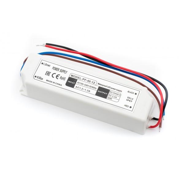 Блок питания для ленты IP 67 пластик LV-40-12