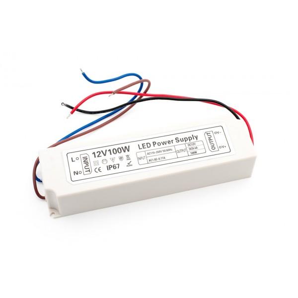 Блок питания для ленты IP 67 пластик LV-100-12