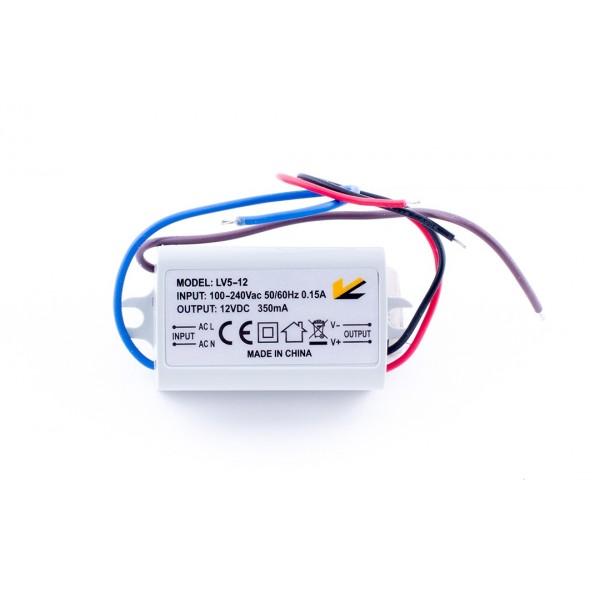 Блок питания для ленты IP 67 пластик LV-5-12