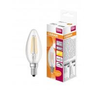 Лампа светодиодная филаментная OSRAM LED STAR Classic B 5W (замена 60Вт), диммируемая,теплый белый свет, прозрачная колба, Е14