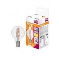 Лампа светодиодная филаментная OSRAM LED STAR Classic P 5W (замена 60Вт), диммируемая, теплый белый свет, прозрачная колба, Е14