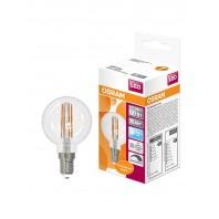 Лампа светодиодная филаментная OSRAM LED STAR Classic P 5W (замена 60Вт), диммируемая, нейтральный белый свет, прозрачная колба, Е14