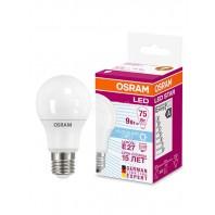 Лампа светодиодная OSRAM LED STAR Classic A 9W (замена 75Вт), холодный свет, матовая колба, Е27