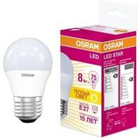 Лампа светодиодная OSRAM LED STAR Classic P 8W (замена 75Вт), нейтральный белый свет, матовая колба, Е27
