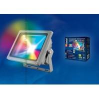 Cветодиодный прожектор ULF-S01-30W/RGB/RC IP65 110-240В  с пультом ДУ. Мультиколор. Корпус серый. Упаковка картон. TM Uniel.