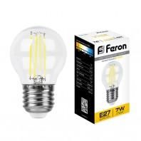 Лампа светодиодная Feron LB-52 (7W) 230V E27 2700K филамент G45