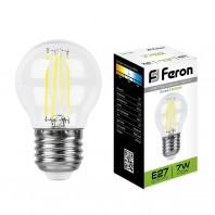 Лампа светодиодная Feron LB-52 (7W) 230V E27 4000K филамент G45