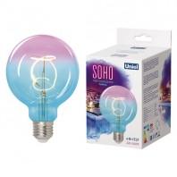 Лампа светодиодная SOHO. LED-SF01-4W/SOHO/E27/CW BLUE/WINE GLS77TR. Синяя/винная колба. Спиральный филамент. Картон. ТМ Uniel