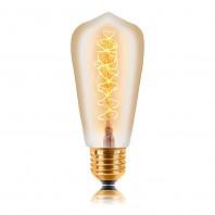 Ретро лампа накаливания Эдисона «Vintage» ST58 F5 40W золотая