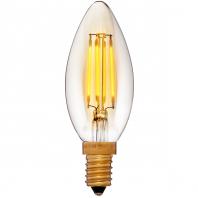 Ретро лампа светодиодная Эдисона «Vintage» C35 Не диммируемая Без мерцания Золотая E14  2200K 400Lm  4W 240V