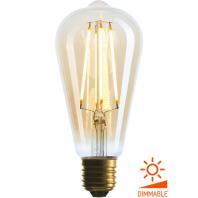 Ретро лампа светодиодная Эдисона «Vintage» ST64 4W ST64, 4W, диммируемая, 220-240V, E27, Золотая, 2200K