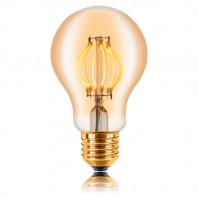 Ретро лампа светодиодная Эдисона «Vintage» A60, 4W, CURVE FILAMENT, Диммируемая, 220-240V, E27, Золотая 2200K