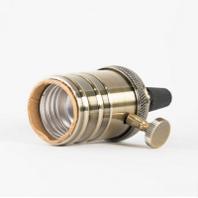 Ретро патрон бронза #LD4002-10 Патрон латунный. С выкл. и кольцом.  E27. Цвет - Бронза.
