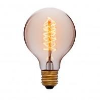 Ретро лампа накаливания Эдисона «Vintage» G80 F5 60 Вт E27 Прозрачная