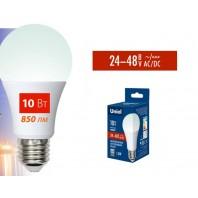 Низковольтная cветодиодная лампа LED-A60-10W/NW/E27/FR/24-48V PLO55WH