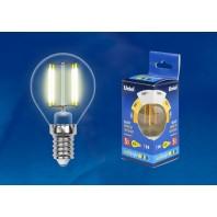 Светодиодная лампа прозрачная. Серия Multibright. Теплый белый свет (3000K). LED-G45-5W/WW/E14/CL/MB GLM10TR Картон. ТМ Uniel.