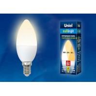 Светодиодная лампа свеча. Серия Multibright LED-C37-6W/WW/E14/FR/MB PLM11WH картон ТМ Uniel.