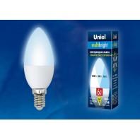 Светодиодная лампа свеча. Серия Multibright LED-C37-6W/NW/E14/FR/MB PLM11WH картон ТМ Uniel.