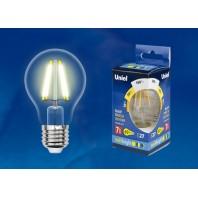 Светодиодная лампа Форма «А», прозрачная. Серия Multibright. Теплый белый свет (3000K). LED-A60-7W/WW/E27/CL/MB GLM10TR Картон. ТМ Uniel.