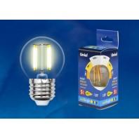 Светодиодная лампа прозрачная. Серия Multibright. Теплый белый свет (3000K). LED-G45-5W/WW/E27/CL/MB GLM10TR Картон. ТМ Uniel.