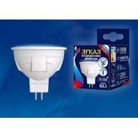 Светодиодная лампа, диммируемая. Форма «JCDR» LED-JCDR 6W/NW/GU5.3/FR/DIM PLP01WH, матовая. Серия ЯРКАЯ. Белый свет (4000K). Картон. ТМ Uniel