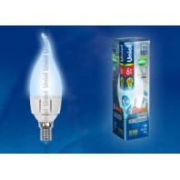Светодиодная лампа диммируемая свеча на ветру LED-CW37-6W/NW/E14/FR/DIM PLP01WH картон