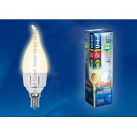 Светодиодная лампа диммируемая свеча на ветру LED-CW37-6W/WW/E14/FR/DIM PLP01WH картон