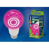 """Лампа светодиодная для растений. LED-A60-14W/SPSB/E27/CL PLP30WH  Форма """"A"""", прозрачная. Спектр для рассады и цветения. Картон. ТМ Uniel."""