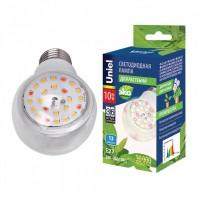 """Лампа светодиодная для растений. LED-A60-10W/SPFB/E27/CL PLP30WH Форма """"A"""", прозрачная. Спектр для фотосинтеза. Картон. ТМ Uniel"""