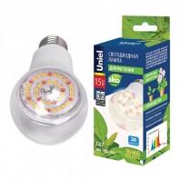 """Лампа светодиодная для растений. LED-A60-15W/SPFB/E27/CL PLP30WH Форма """"A"""", прозрачная. Спектр для фотосинтеза. Картон. ТМ Uniel"""