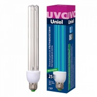 Лампа ультрафиолетовая бактерицидная. ESL-PLD-25/UVCB/E27/CL Спектр UVC 253,7нм. Картон.