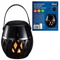 Светодиодный светильник с bluetooth колонкой. ULD-R201 LED/FLAME BLACK  Эффект пламени. Встроенный аккумулятор 1800mAh. Черный. ТМ Uniel. Эффект пламени. Встроенный аккумулятор 1800mAh. Черный. ТМ Uniel