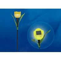 """Садовый светильник на солнечной батарее """"Желтый тюльпан"""". Белый свет. USL-C-454/PT305 YELLOW TULIP  1*LR аккумулятор в/к. IP44. TM Uniel."""