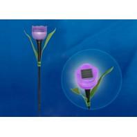 """Садовый светильник на солнечной батарее """"Лиловый тюльпан"""". Белый свет. USL-C-454/PT305 PURPLE TULIP  1*LR аккумулятор в/к. IP44. TM Uniel."""