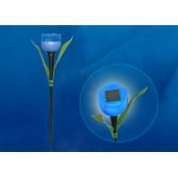 """Садовый светильник на солнечной батарее """"Синий тюльпан"""". Белый свет. USL-C-454/PT305 BLUE TULIP  1*LR аккумулятор в/к. IP44. TM Uniel."""
