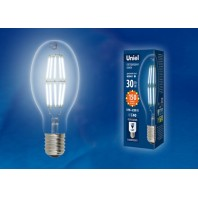 Лампа светодиодная, прозрачная высокой мощности LED-ED90-30W/DW/E40/CL GLP05TR. Белый свет (6500K)