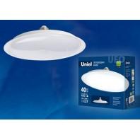 Лампа светодиодная высокой мощности LED-U220-40W/3000K/E27/FR PLU01WH. Форма «UFO», матовая. Белый свет (3000K)