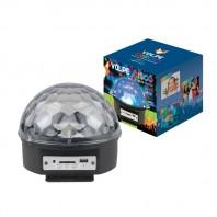 Светодиодный светильник-проектор ULI-Q330 8W/RGB BLACK. Диско-шар. Серия DISCO, многоцветный. Вертикальная проекция. ТМ VOLPE. Встроенный MP3 проигрыватель и 2 колонки, USB и SD разъемы, Пульт ДУ. Кабель с вилкой, 220В. Цвет корпуса - черный.