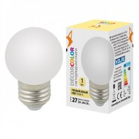 "Лампа декоративная светодиодная. Форма ""шар"", LED-G45-1W/3000K/E27/FR/С  матовая. Теплый белый свет (3000K) Для Белт-Лайт"