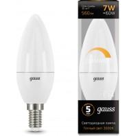Лампа Gauss LED Свеча-dim E14 7W 560lm 3000К диммируемая (103101107-D)