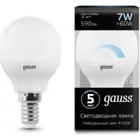 Лампа Gauss LED Шар-dim E14 7W 590lm 4100К диммируемая (105101207-D)