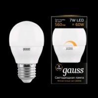 Лампа Gauss LED Шар-dim E27 7W 590lm 3000К диммируемая (105102107-D)