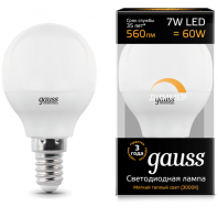 Лампа Gauss LED Шар-dim E14 7W 590lm 3000К диммируемая (105101107-D)
