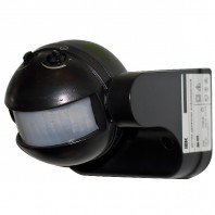 Датчик движения ИК настенный 1100w 180 гр. 12м IP44 черный (ДД 009 чер.)